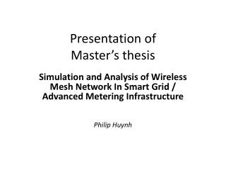 Presentation of  Master's thesis