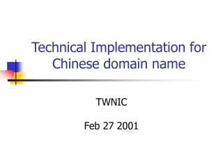Technical Implementation for Chinese domain name