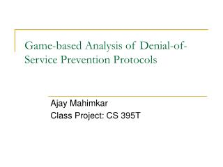 Game-based Analysis of Denial-of-Service Prevention Protocols