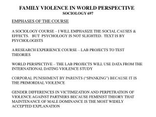 FAMILY VIOLENCE IN WORLD PERSPECTIVE SOCIOLOGY 697