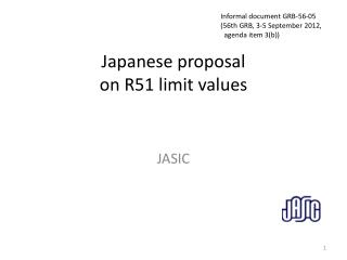 Japanese proposal  on R51 limit values