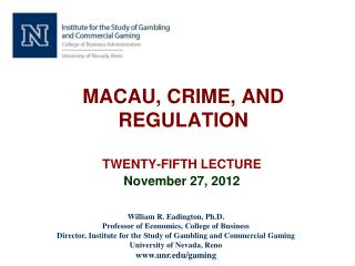 MACAU, CRIME, AND REGULATION