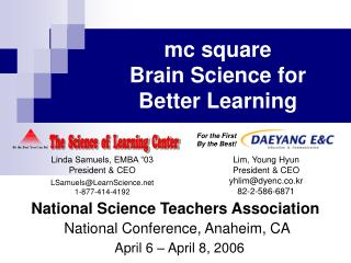 National Science Teachers Association National Conference, Anaheim, CA April 6 – April 8, 2006