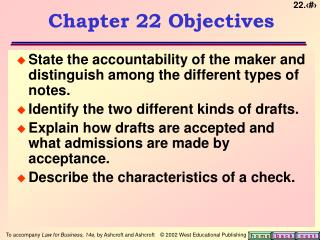 Chapter 22 Objectives