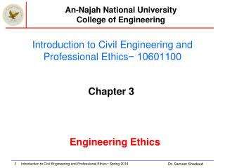 Introduction to Civil Engineering and Professional Ethics − 10601100