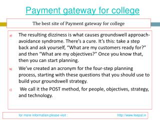 Find more information about payment gateway for college