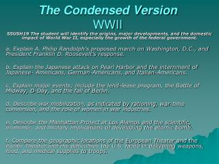 The Condensed Version WWII