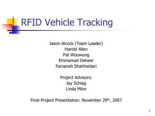 RFID Vehicle Tracking