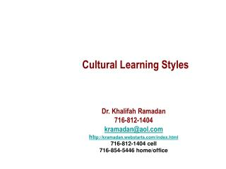 Cultural Learning Styles
