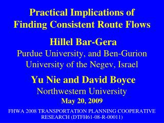 FHWA 2008 TRANSPORTATION PLANNING COOPERATIVE RESEARCH (DTFH61-08-R-00011)