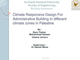Climate Responsive Design For Administrative Building In different climate zones in Palestine