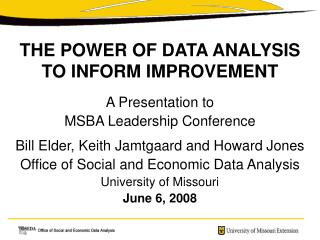 THE POWER OF DATA ANALYSIS TO INFORM IMPROVEMENT