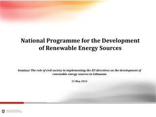 National Programme for the Development of Renewable Energy Sources