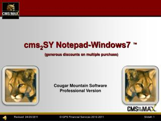 cms 2 SY Notepad-Windows7  ™ (generous discounts on multiple purchase)
