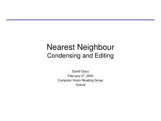 Nearest Neighbour Condensing and Editing