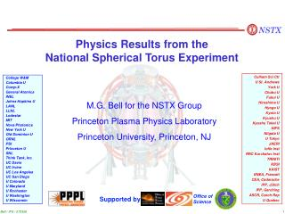 Physics Results from the  National Spherical Torus Experiment
