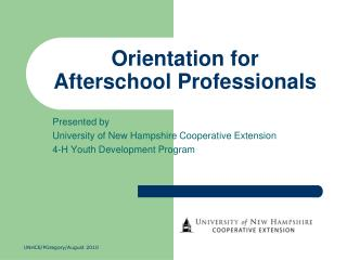 Orientation for Afterschool Professionals