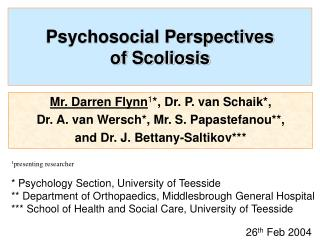 Psychosocial Perspectives  of Scoliosis
