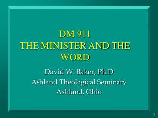 DM 911 THE MINISTER AND THE WORD