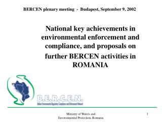 BERCEN plenary meeting  -  Budapest, September 9, 2002