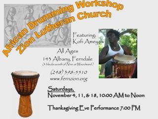 African Drumming Workshop Zion Lutheran Church