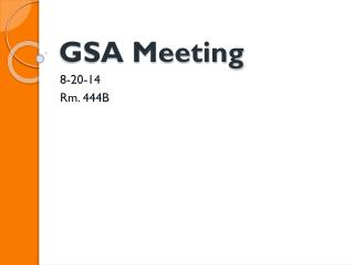 GSA Meeting