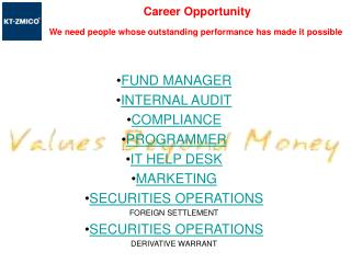 FUND MANAGER INTERNAL AUDIT COMPLIANCE PROGRAMMER IT HELP DESK MARKETING SECURITIES OPERATIONS