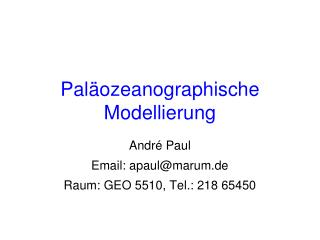 Paläozeanographische Modellierung