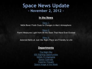 Space News Update - November 2, 2012 -