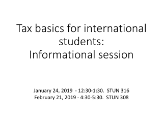 Tax Compliance for International Students  Scholars
