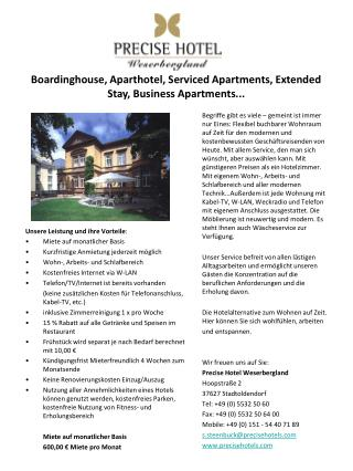 Boardinghouse, Aparthotel, Serviced Apartments, Extended Stay, Business Apartments...