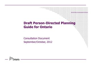 Draft Person-Directed Planning  Guide for Ontario