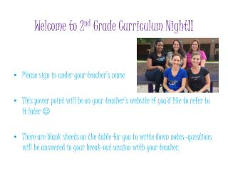 Welcome to 2 nd  Grade Curriculum Night!!