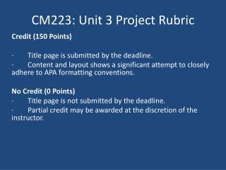 CM223: Unit 3 Project Rubric