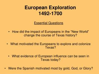 European Exploration 1492-1700