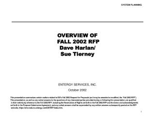 OVERVIEW OF  FALL 2002 RFP Dave Harlan/ Sue Tierney