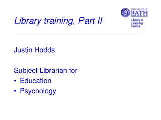 Library training, Part II
