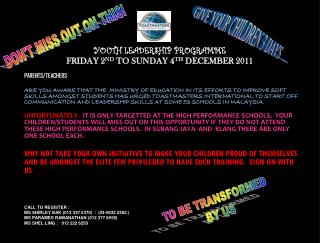 YOUTH LEADERSHIP PROGRAMME FRIDAY 2 ND  TO SUNDAY 4 TH  DECEMBER 2011