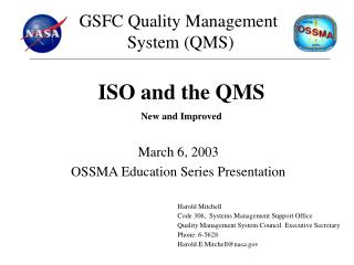 March 6, 2003 OSSMA Education Series Presentation