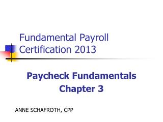 Fundamental Payroll Certification 2013