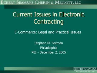 Current Issues in Electronic Contracting