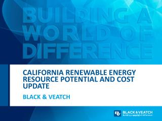 California Renewable Energy resource potential and Cost update