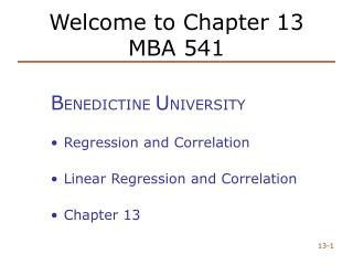 Welcome to Chapter 13 MBA 541