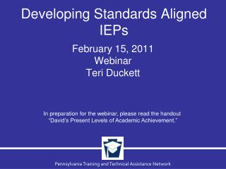 Developing Standards Aligned IEPs