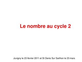Le nombre au cycle 2