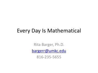 Every Day Is Mathematical