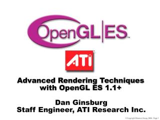 Advanced Rendering Techniques with OpenGL ES 1.1+
