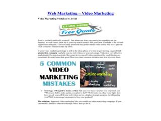Web Marketing – Video Marketing