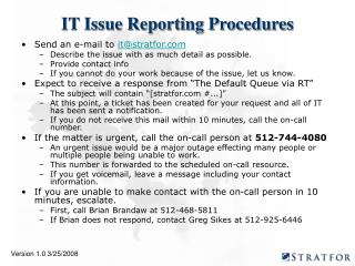 IT Issue Reporting Procedures