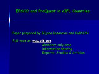 EBSCO and ProQuest in eIFL Countries